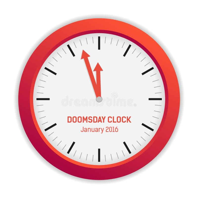 Lokalisierte Illustration der Tag des Jüngsten Gerichts-Uhr (3 Minuten zum Mitternacht) stock abbildung