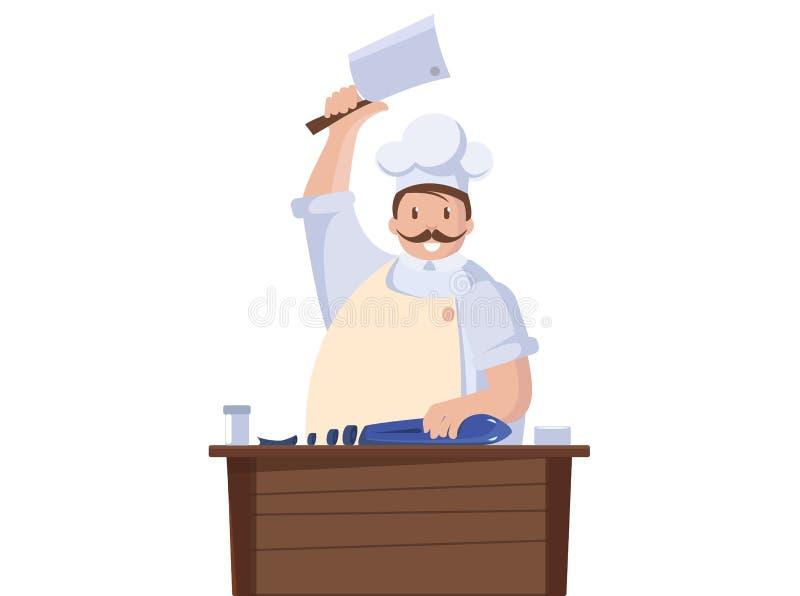 Lokalisierte Illustration des Chefkochs Fische Chefcharakter mit Messer Vektor stock abbildung