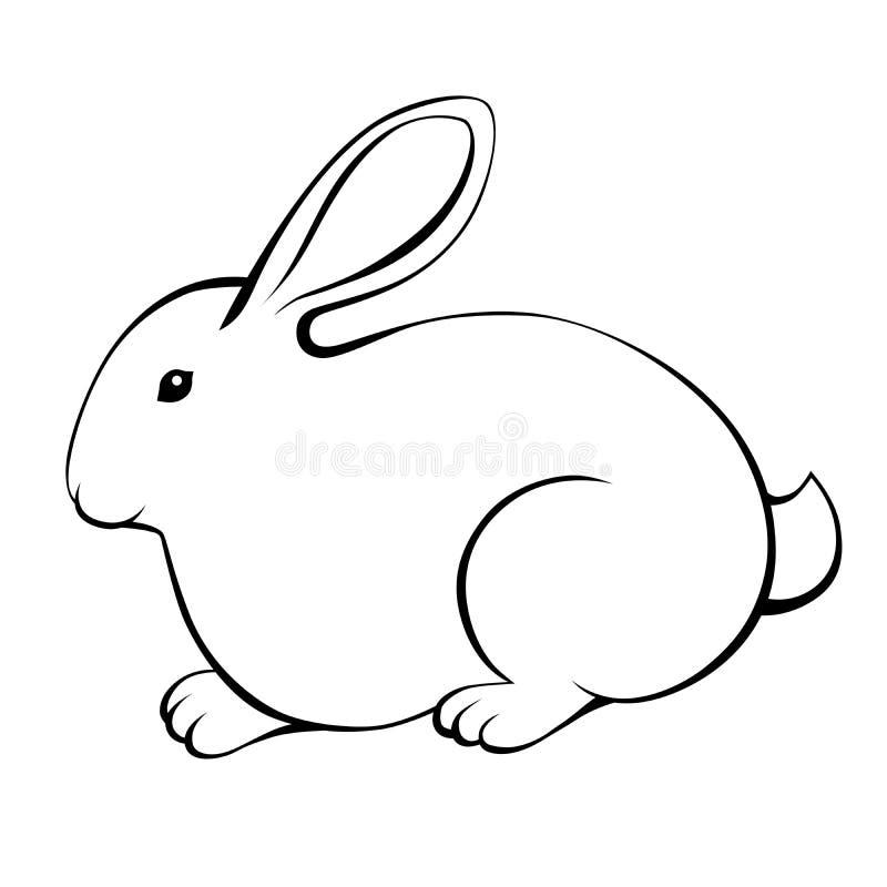 Lokalisierte Illustration des Kaninchens schwarzes Weiß vektor abbildung