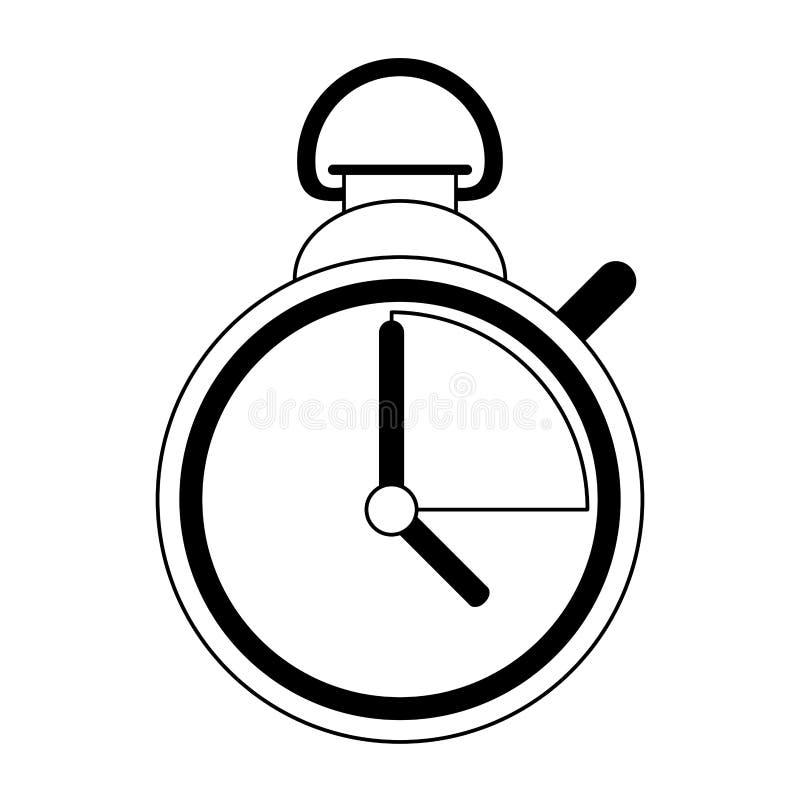 Lokalisierte Karikatur des Timer-Chronometers Symbol in Schwarzweiss lizenzfreie abbildung