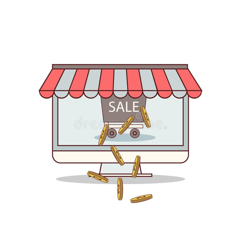 Lokalisierte Karikatur erhalten vom on-line-Geschäft reich vektor abbildung