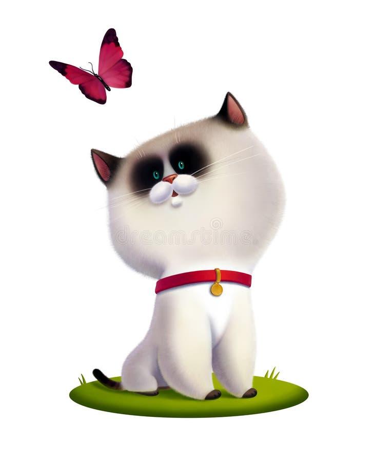 Lokalisierte Kinderillustration des weißen Kätzchens vektor abbildung