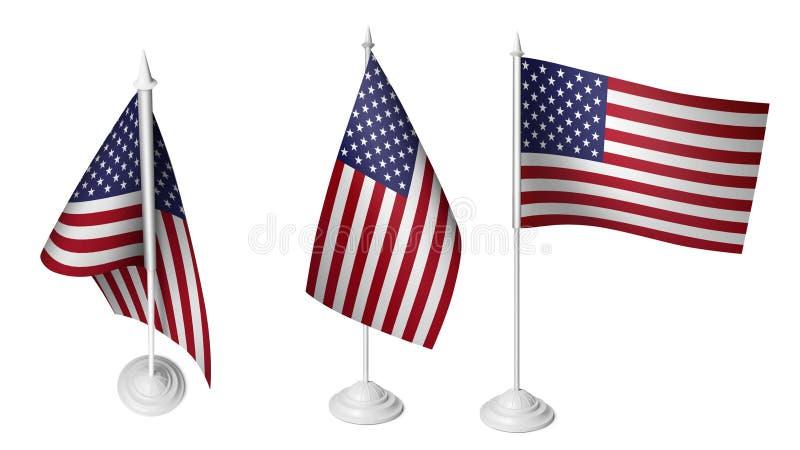 3 lokalisierte kleine amerikanische Flaggen, die realistische übertragene amerikanische Flagge 3D lizenzfreie abbildung