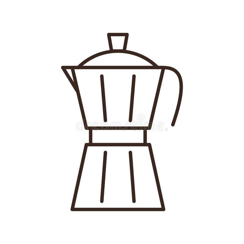 Lokalisierte lineare Ikone der Moka-Topf-Kaffeemaschine stock abbildung