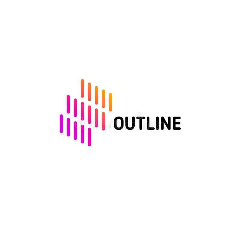 Lokalisierte Linie Chipkunst-Logoschablone Abstraktes lineares Regenfirmenzeichen Bunte geometrische Ikone Entwurf erneuern Desig lizenzfreie abbildung
