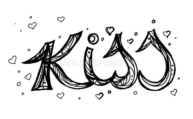 Lokalisierte Linie Kunst, können Sie des Textes Kuss für Ihren Entwurf verwenden Hand gezeichnete Illustration, stock abbildung