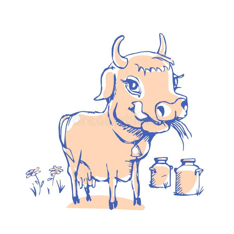 Lokalisierte lustige Skizzenkuh für Milchprodukt vektor abbildung