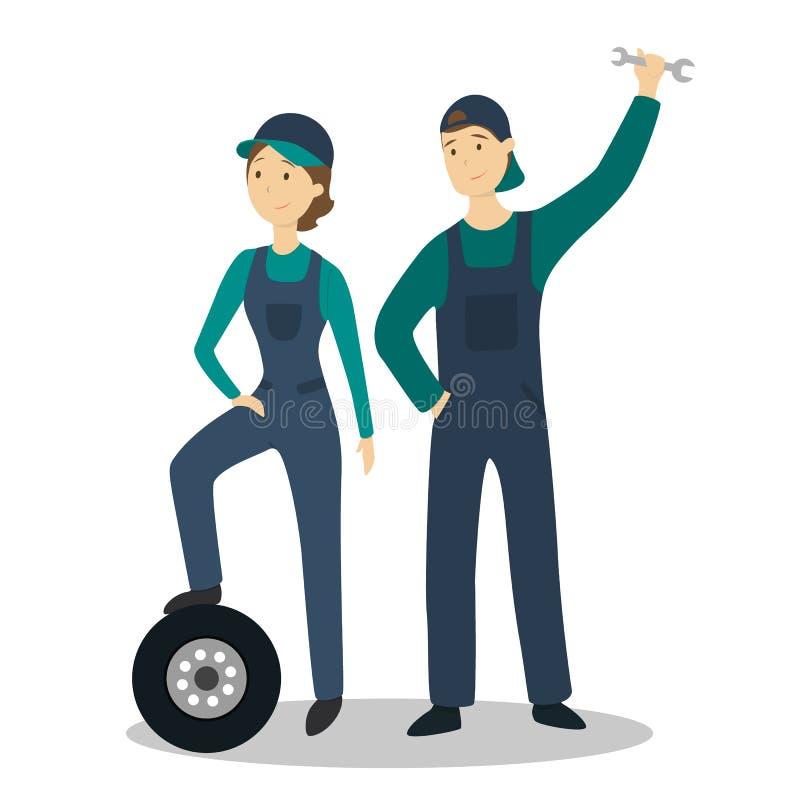 Lokalisierte Mechanikerpaare stock abbildung