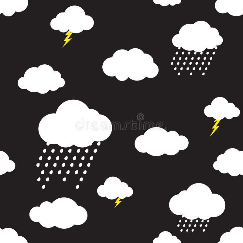 Lokalisierte nahtloser Mustervektor der Regenwolke Tapetenhintergrundschwarzes vektor abbildung