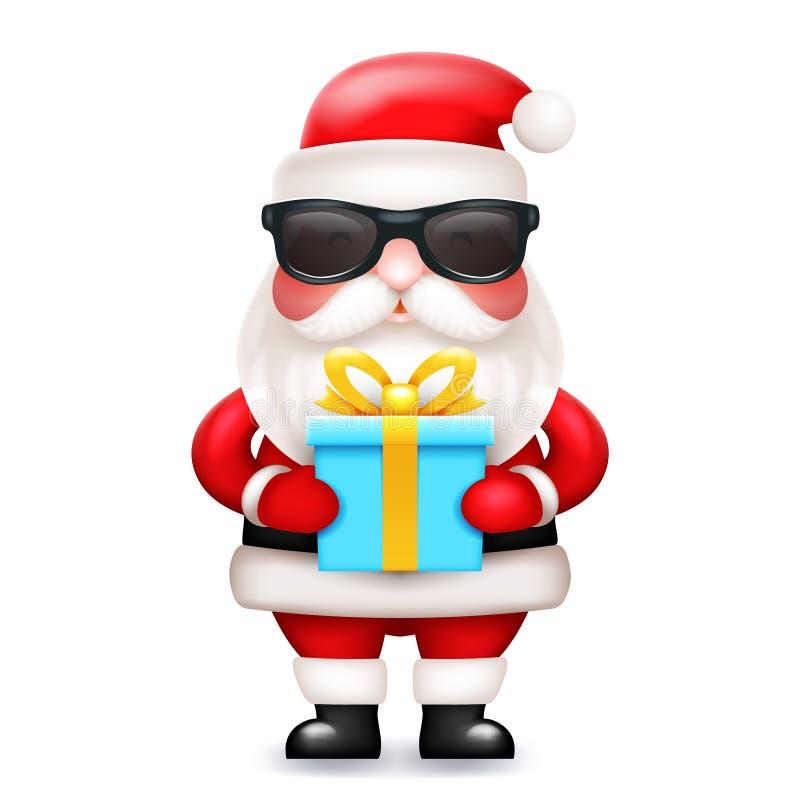 Lokalisierte nette Ikone der Zeichentrickfilm-Figur 3d des geheimen Santa Claus-Geschenkboxgeschenkes Vektorillustration stock abbildung