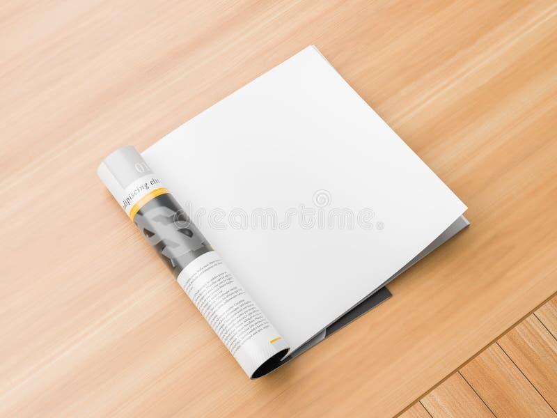 Lokalisierte, quadratische Zeitschrift der realistischen, rechten Seite oder Katalogspott oben auf hölzernem Hintergrund Leere qu stock abbildung