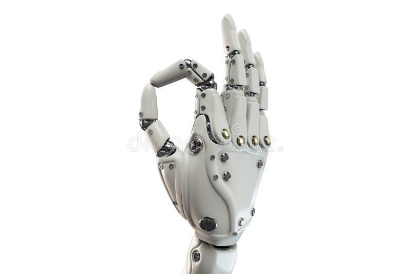 Lokalisierte Roboterhand, die o.k. auf dem weißen Hintergrund darstellt vektor abbildung