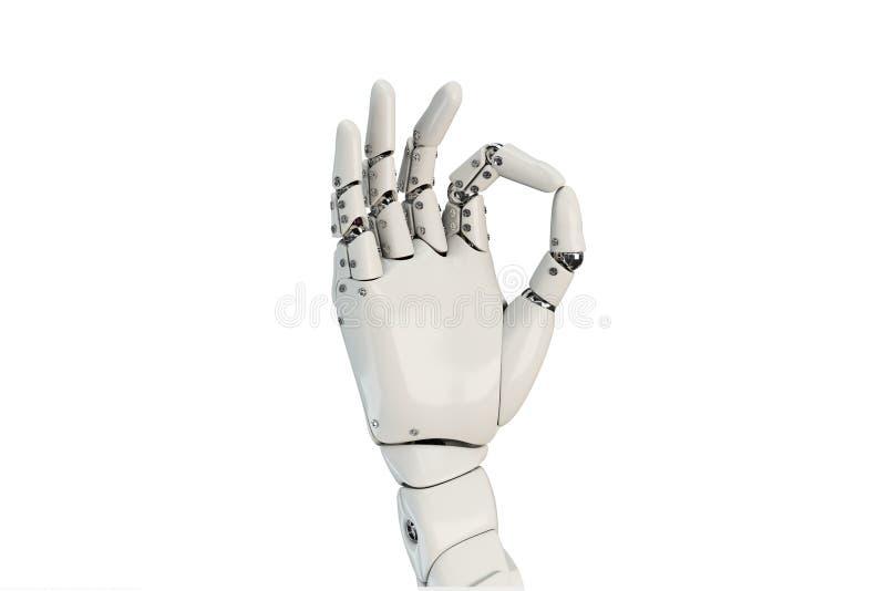 Lokalisierte Roboterhand, die o.k. auf dem weißen Hintergrund darstellt stock abbildung