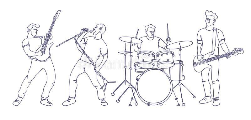 Lokalisierte Rockmusikband Art der einzelnen Zeile stock abbildung