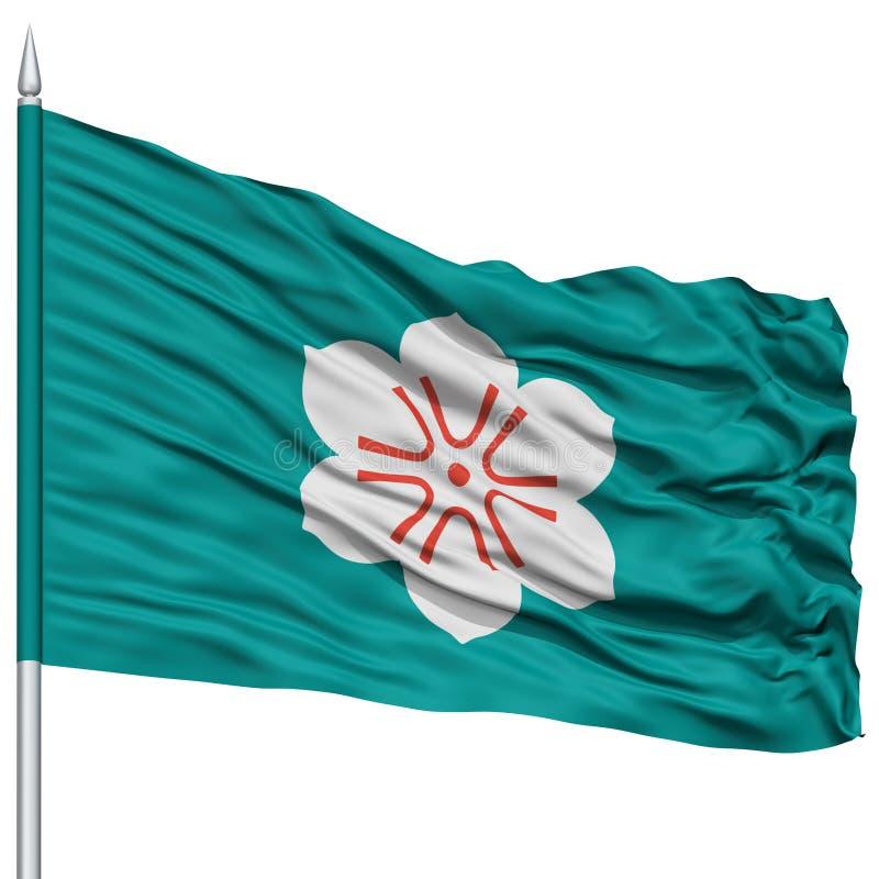 Lokalisierte Saga-Japan-Präfektur-Flagge auf Fahnenmast lizenzfreie abbildung