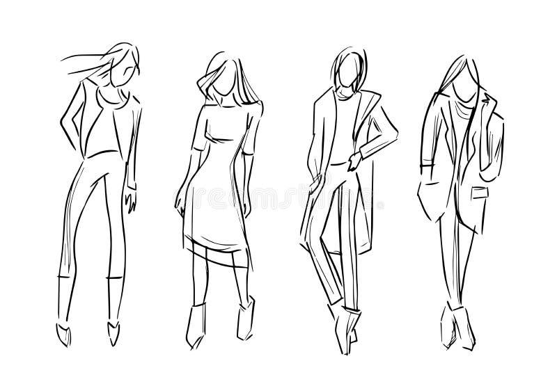 Lokalisierte Sammlung der Modemädchensatz-Skizze Illustration vektor abbildung
