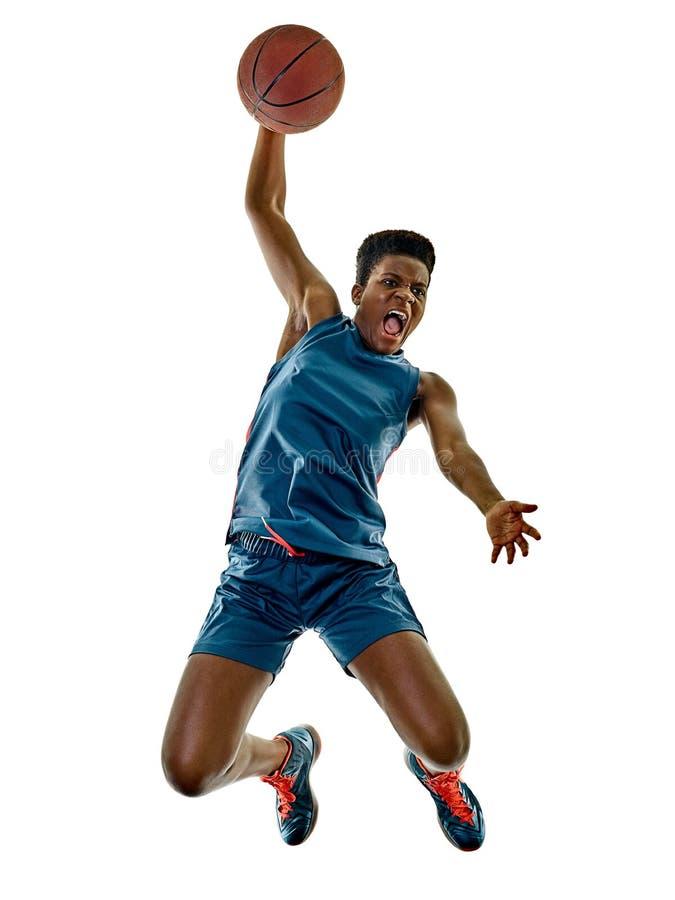 Lokalisierte Schatten des Basketball-Spieler-Frauenjugendlichen Mädchen lizenzfreies stockbild
