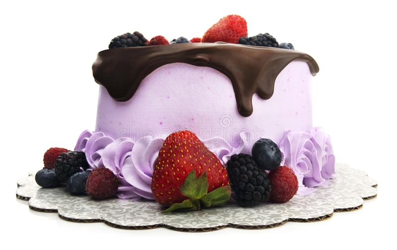 Lokalisierte Schokolade Ganache Berry Cake lizenzfreies stockfoto
