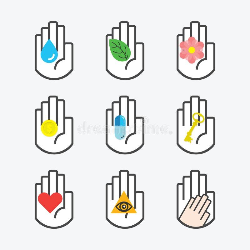 Lokalisierte schwarze Linie Handsymbol, das verschiedene Begriffszeichenikonen eingestellt hält vektor abbildung