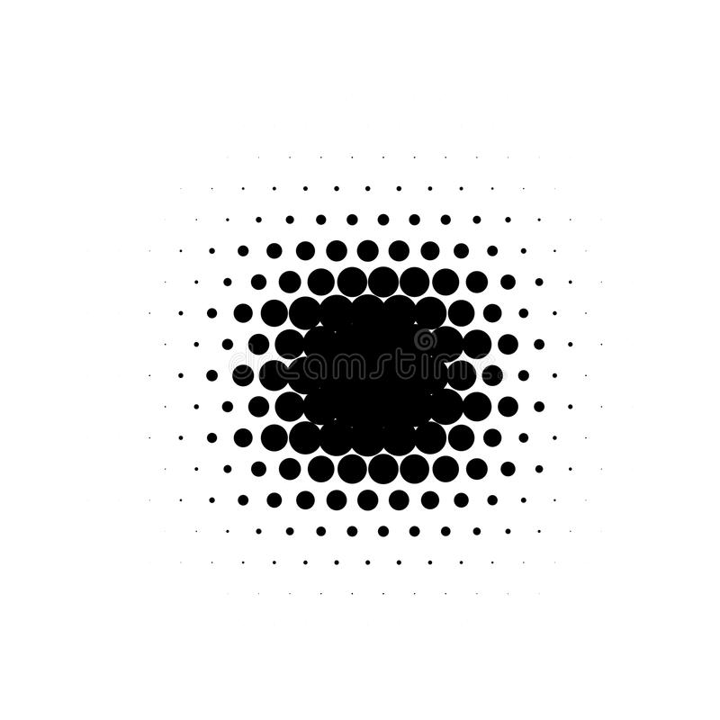 Lokalisierte schwarzes Karikaturcomics der runden Form der Farbzusammenfassung punktierte Halbton beflecken Hintergrund, dekorati lizenzfreie abbildung