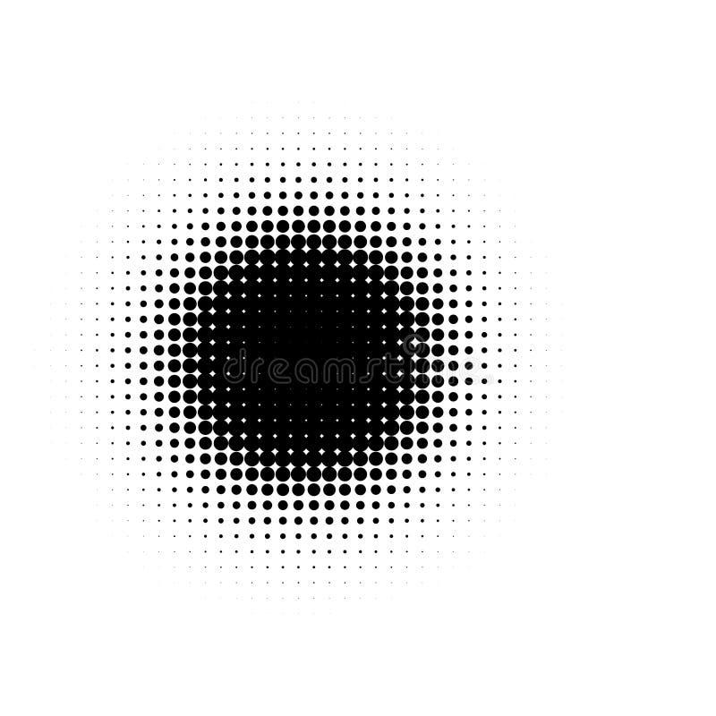 Lokalisierte schwarzes Karikaturcomics der runden Form der Farbzusammenfassung punktierte Halbton beflecken Hintergrund, dekorati vektor abbildung