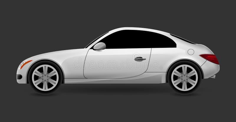 Lokalisierte Seitenansicht des Profils des Vektorautomobils Coupé Modernes Limousinetransport-Autoluxusauto Seitenansichtautodesi lizenzfreie abbildung