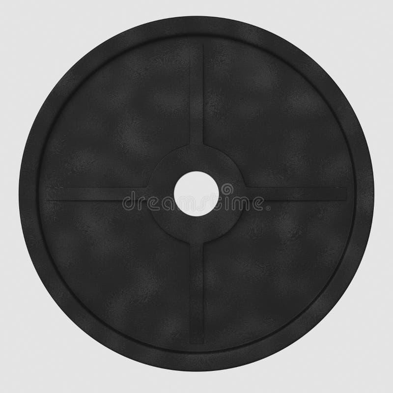 Lokalisierte sich hin- und herbewegende Eisen-Gewichts-Platte auf einem weißen Hintergrund stock abbildung