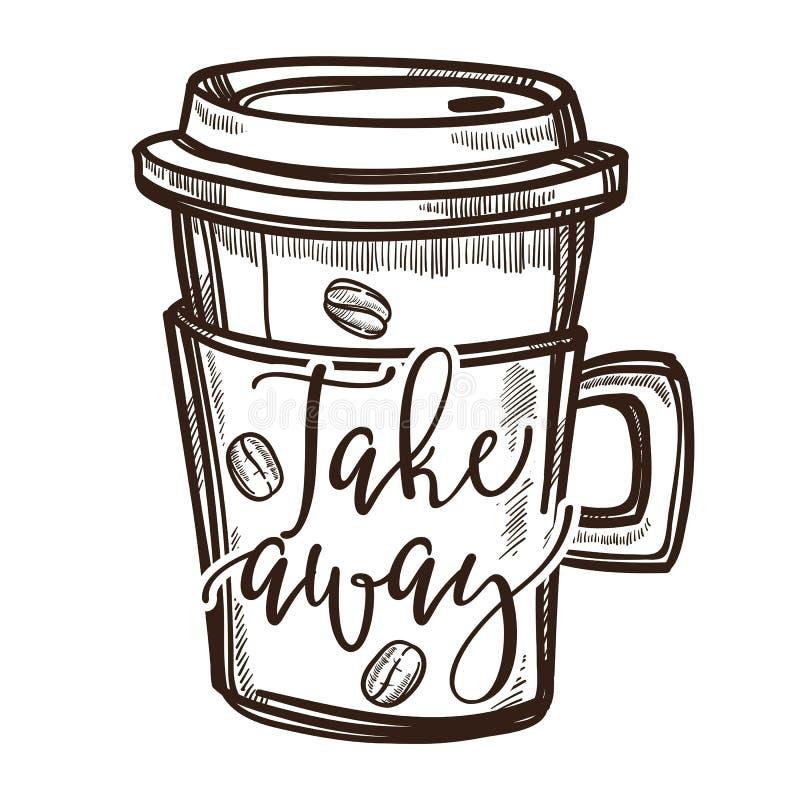 Lokalisierte Skizzenikone des Kaffeegetränks Mitnehmerschale vektor abbildung