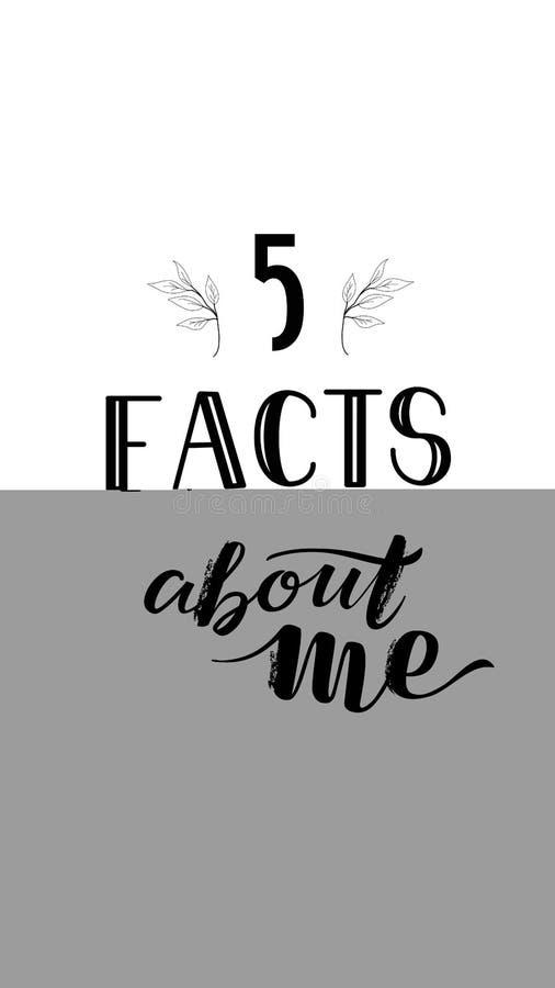 Lokalisierte Social Media-Geschichten-Schablone, die Tatsachen SMM 5 über mich beschriftet lizenzfreies stockfoto