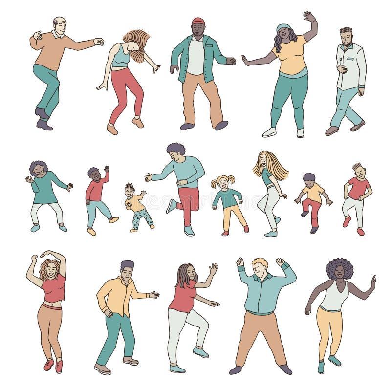Lokalisierte tanzende Leute, Kinder und Erwachsene vektor abbildung