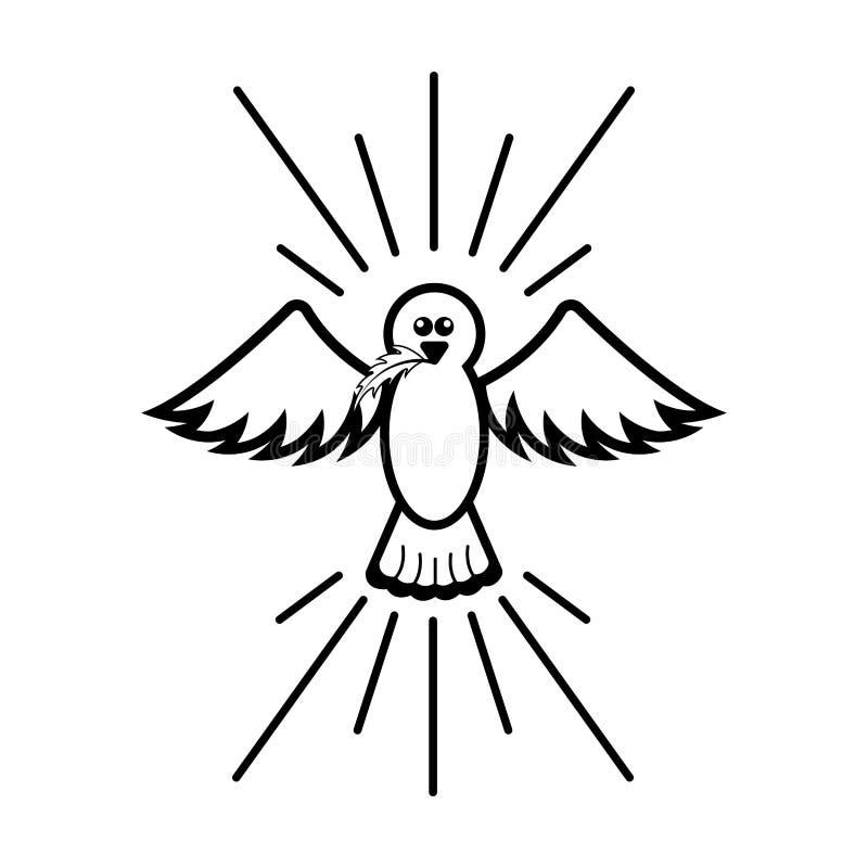 Lokalisierte Taubenikone Taube auf der Leuchte des Mondes vektor abbildung