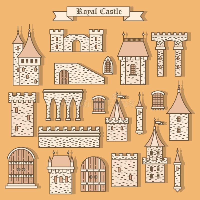 Lokalisierte Teile der Karikatur Steinschloss vektor abbildung