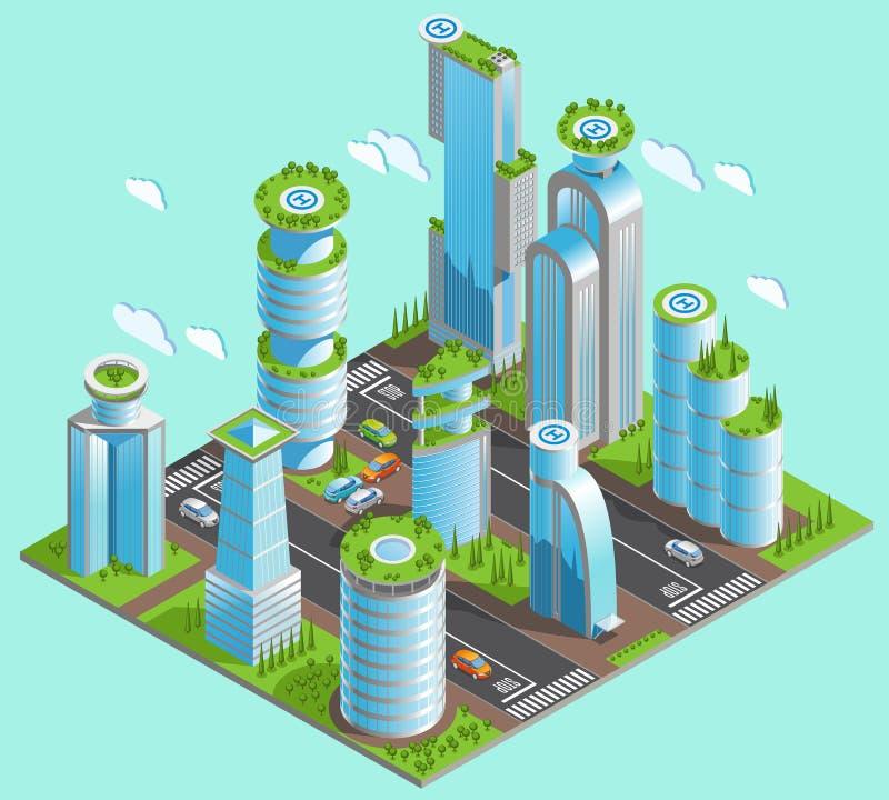 Lokalisierte und isometrische futuristische Wolkenkratzer-Zusammensetzung vektor abbildung
