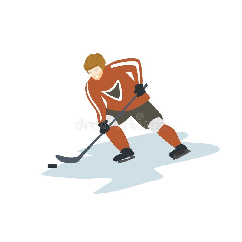 Lokalisierte Vektorillustration des Eishockeyspielers lizenzfreie abbildung