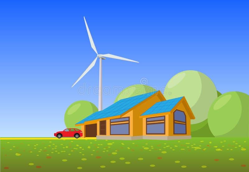 Lokalisierte Vektorillustration des sauberen Hauses der elektrischen Energie vektor abbildung