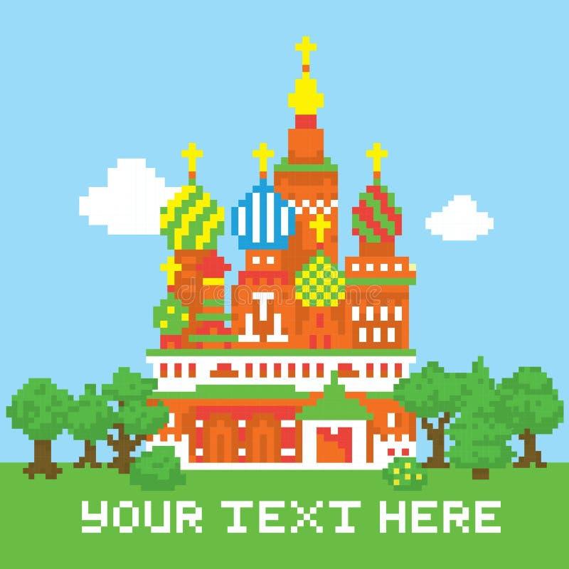 Lokalisierte Vektorkirche des Pixels Kunst lizenzfreie abbildung