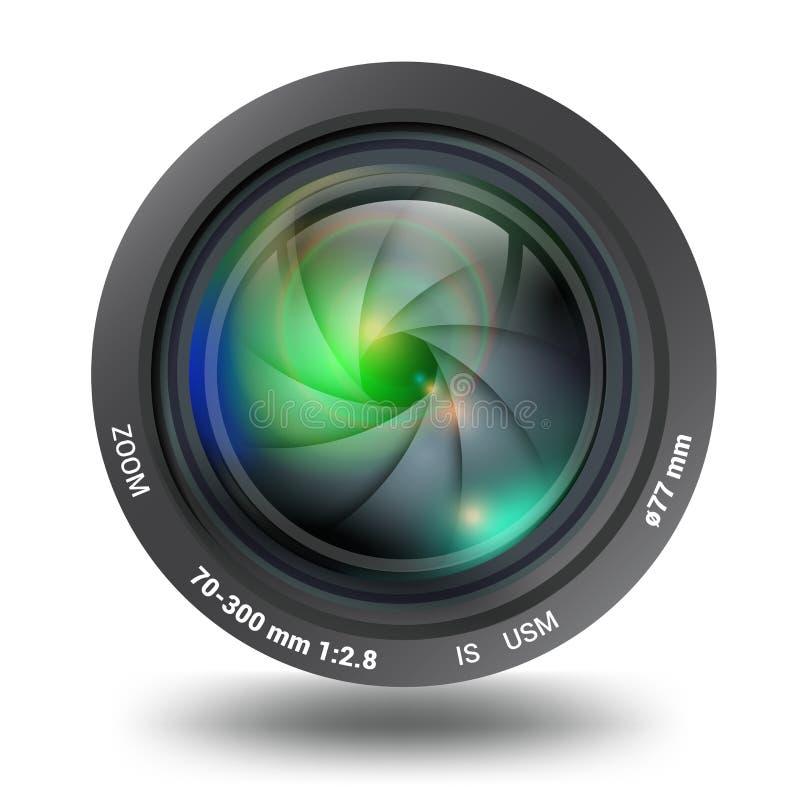 Lokalisierte Vorderansicht der Fotovideokamera Linse lizenzfreie stockfotos