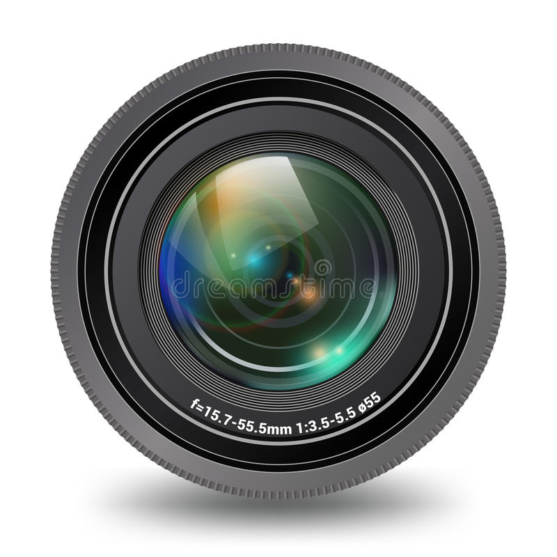 Lokalisierte Vorderansicht der Fotovideokamera Linse stockfoto
