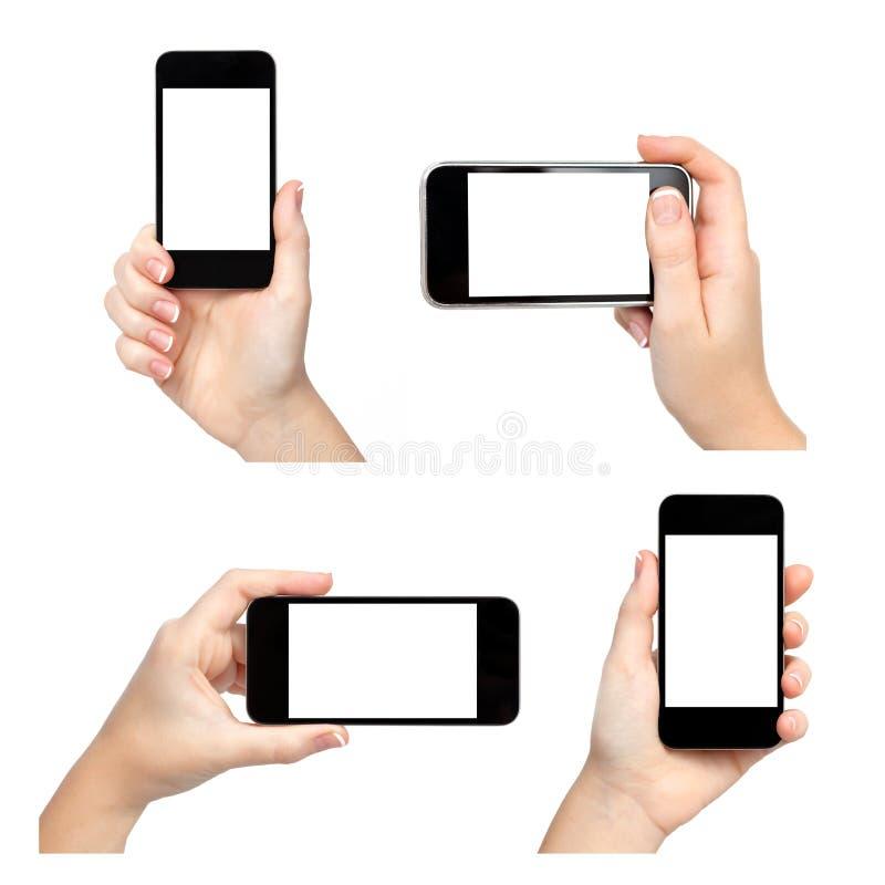 Lokalisierte weibliche Hand, die das Telefon auf unterschiedliche Arten hält lizenzfreie stockfotografie