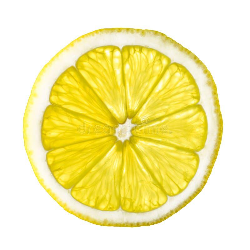 Lokalisierte Zitronenscheibe auf weißem Hintergrund stockbilder