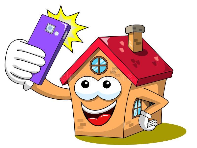 Lokalisierten lustiger Smartphone Charakter der glücklichen Hauskarikatur oder zelluläres selfie Foto stock abbildung