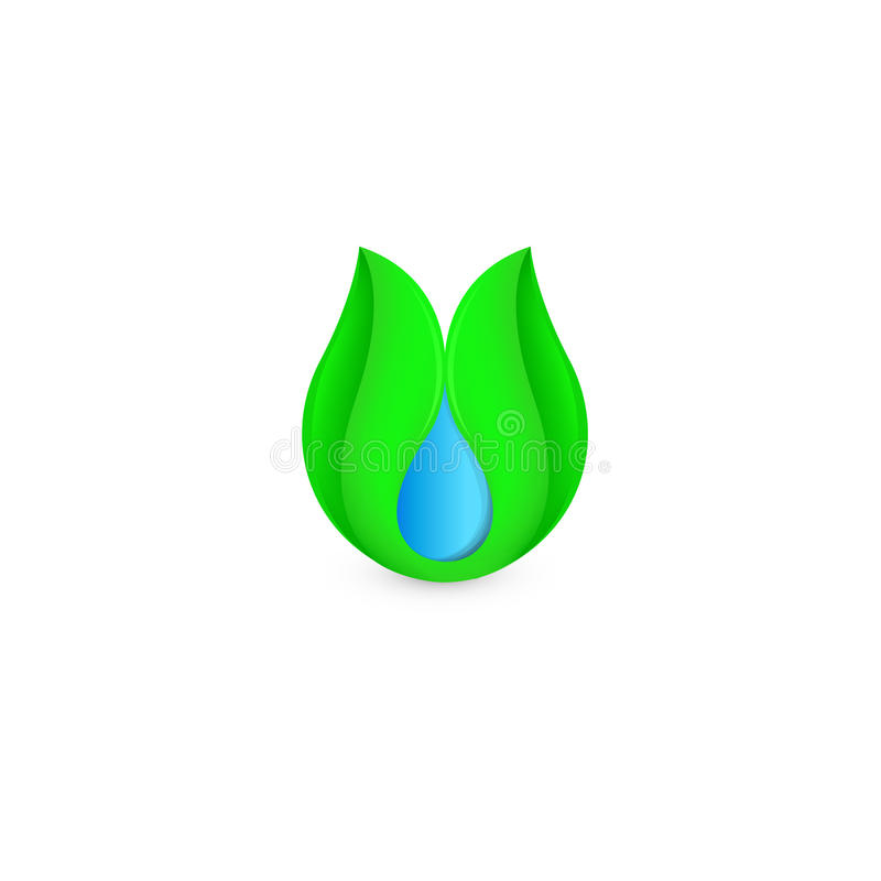 Lokalisierter abstrakter Tropfen des blauen Wassers des grünen Blattlogos Natürliches reines flüssiges Firmenzeichen Neue Getränk vektor abbildung