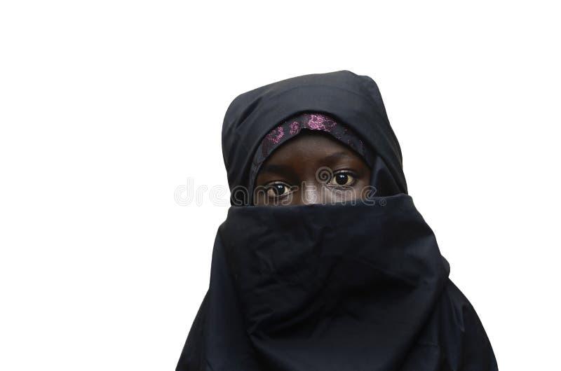 Lokalisierter afrikanischer arabischer Schulmädchen-Schleier Niqab stockbilder