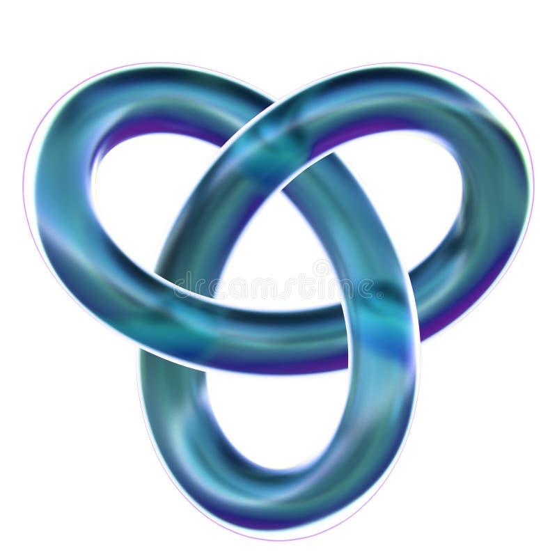 Lokalisierter blauer Kleeschleifenknoten 3D übertragen auf weißem Hintergrund lizenzfreie stockfotografie