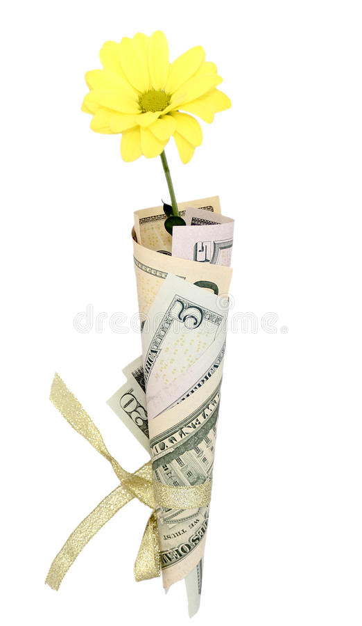 Lokalisierter Blumenstrauß des Geldes mit Blume lizenzfreie stockfotografie