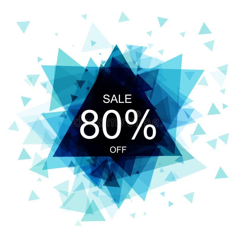 Lokalisierter bunter Rabattaufkleber auf weißem Hintergrund Abstrakte geometrische dreieckige Fahnenverkäufe Vektor stock abbildung