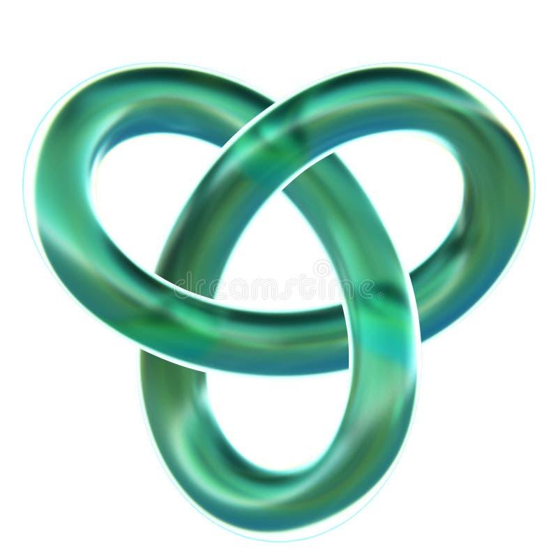 Lokalisierter cyan-blauer Kleeschleifenknoten 3D übertragen auf weißem Hintergrund lizenzfreie stockfotos