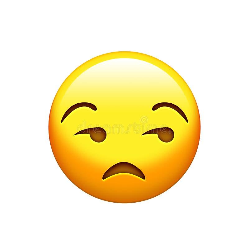 Lokalisierter emoji Gelbglanz, umgekippte Gesichtsikone lizenzfreie abbildung