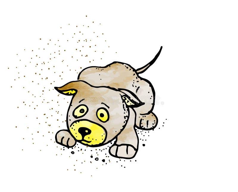 Lokalisierter erschrockener Karikaturhund auf weißem Hintergrund lizenzfreie abbildung