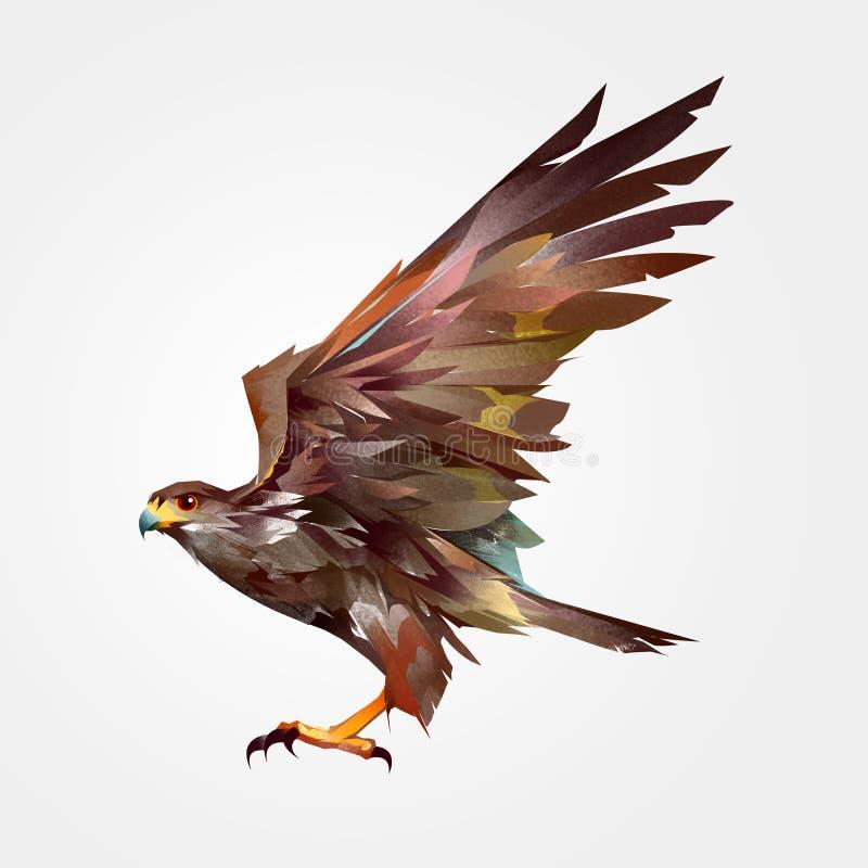 Lokalisierter farbiger gemalter Fliegenvogelfalke in der Seite vektor abbildung